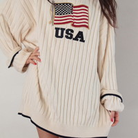 USA Oversized Sweater Dress | Vagabond Youth