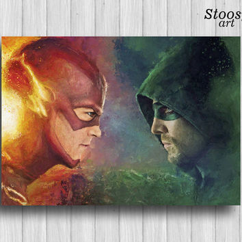 the flash and green arrow print superhero wall art justice league poster dc comics