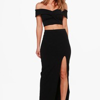 Mia Off Shoulder Crop & Maxi Skirt Co-ord Set | Boohoo