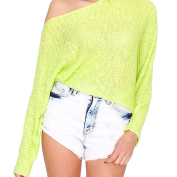 Colorless Knit Crop Top Neon Yellow