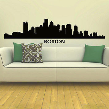 WALL DECAL VINYL STICKER BOSTON SKYLINE CITY SILHOUETTE DECOR SB83