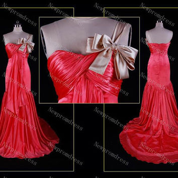 Res satin sweetheart one shoulder Pleated Prom dress for party 2014