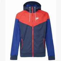 """NIKE""Fashion Hooded Zipper Cardigan Sweatshirt Jacket Coat Windbreaker Sportswear Dark blue-red"