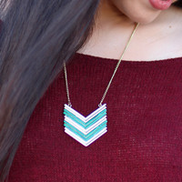Chevron Escape Necklace {Green}