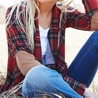 Red Plaid Waterfall Cardigan