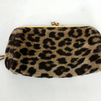 1950's leopard print faux fur clutch or large wallet, two compartment wallet, animal print purse, mid century clutch