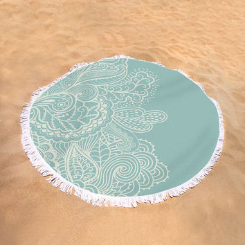 Round Beach Towel Mehndi Boho Bohemian Large Beach Blanket Teal Light Blue White