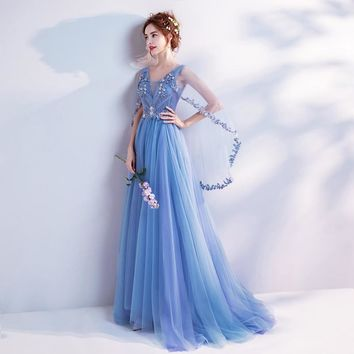 Blue Bling Embroidery Trailing with Wrap Evening Dresses V-neck Sleeveless Train Party Formal Dress