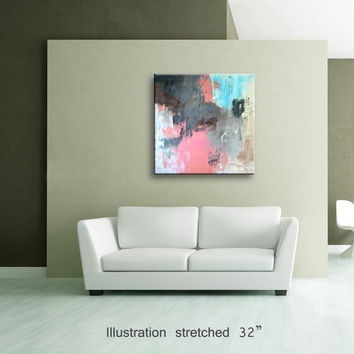 "36"" Pink Light Blue Gray Brown Black Original Abstract Painting on Canvas Wall Art Home Decor Wall Hanging  UNSTRETCHED AU24"