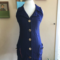 90s Blue Vest with Gold Buttons and Purple lining Size Small/Medium Junior Ayres