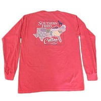 Sucker for the South Long Sleeve Pocket Tee in Watermelon by Southern Fried Cotton