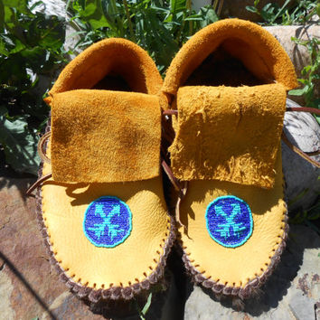 Fur Lined, Beaded Moccasins, Custom Made to Order, Handmade, Hand Beaded, Native American, Short Plains Style, Powwow, Mountain Man, Hippie