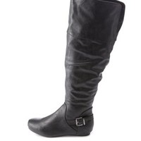 Buckled Knee-High Sliver Wedge Boots by Charlotte Russe - Black