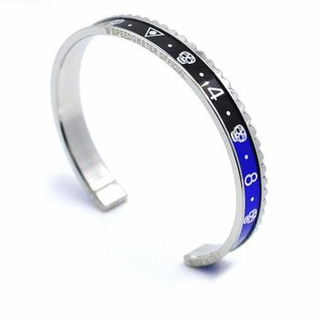 Handsome Italian Style Stainless Steel Cuff Speedometer Bracelet for Men's by Ritzy