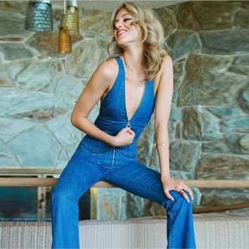 Sexy Backless Denim Women jumpsuits Deep V neck zipper Flare Long Jeans 2018 New Summer Blue overalls Party Rompers playsuit