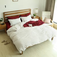 Bedroom Hot Deal On Sale Cotton Plaid Bedding Rinsed Denim Bedding Set [11641284239]