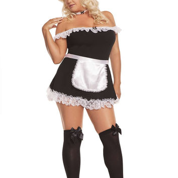 Plus Size Sexy Maid - 4 pc costume includes off the shoulder dress,  apron, neck piece and head piece Black