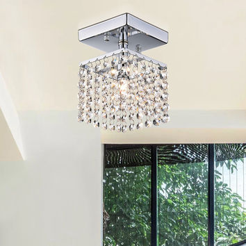 Jhea 1-light Crystal 5-inch Chrome Chandelier | Overstock.com Shopping - The Best Deals on Chandeliers & Pendants