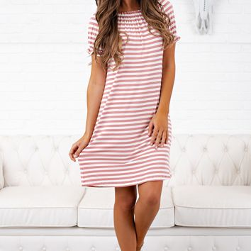 Beach Life Striped Dress (Mauve)