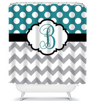 Monogram Shower Curtain Chevron Name Custom Polka Dot Circles Choose Colors TEAL GRAY Pattern Bathroom Bath Polyester Made in USA