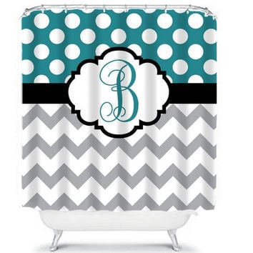 Monogram Shower Curtain Chevron Name Custom Polka Dot Circles Choose Colors TEAL GRAY Pattern Bathroom Bath