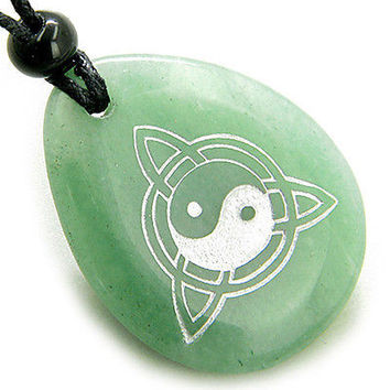 Magic Ying Yang and Celtic Triquetra Knot Amulet Aventurine Lucky Wish Stone Pen