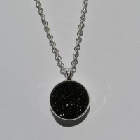 Big Pitch Black Faux Druzy Pendant 16mm