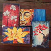 Set of 4 Zen Inspired Blank Greeting Cards
