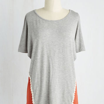 Colorblocking Mid-length Short Sleeves Tranquil Traveling Top