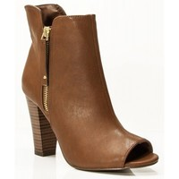New Breckelle Sheela-11 Vegan Peep Toe Ankle Booties TAN