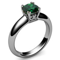 Emerald Ring, Engagement Ring, Solitaire Ring, 14K or 18K White gold, May Birthstone
