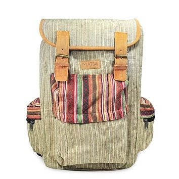 Mato Boho Hemp Backpack Rucksack Baja Woven Aztec Pattern Bag Brown Suede Buckle