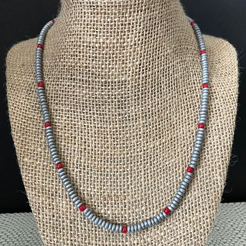 Concrete Gray Hematite Matte and Red Beaded Mens Necklace