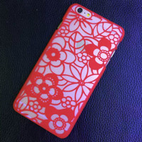 Vintage Red Lace Floral Cover for iphone 5s 6 6s Plus Gift 226