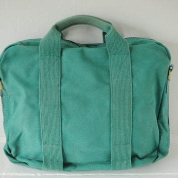 Vintage Lands End Square Rigger Teal Canvas Messenger Bag, Briefcase, Made in USA