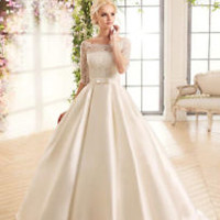 White/Ivory Ball Gown Wedding Dress Half Sleeves Bridal Dress Gown Custom Size