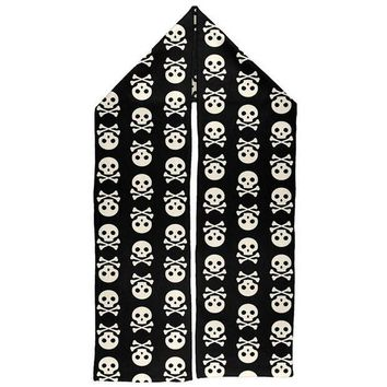 ESBGQ9 Halloween Skull and Crossbones Warm Fleece Scarf