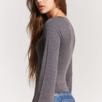 Raw-Cut Bell Sleeve Top