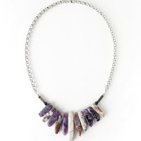 Purple Amethyst Stone Statement Necklace, Semi Precious Spike Stone Jewelry
