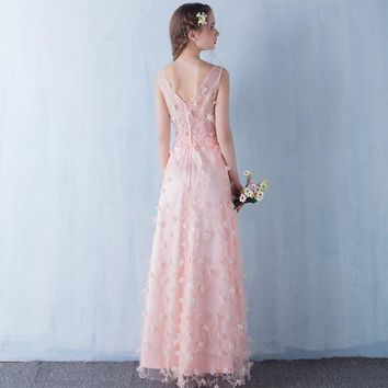 Romantic Pink Tulle With Flowers Evening Dress V-neck A-line Evening Dresses Prom Dress