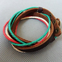 Jewelry bangle leather bracelet ropes bracelet men bracelet women bracelet woven bracelet made of leather and ropes wrist bracelet  SH-2525