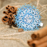 Handmade textile woven tatting brooch hair clip in the shape of blue flower