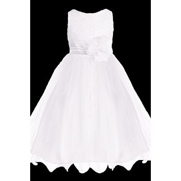 White Sequined Bodice Dress with Lettuce Hem Tulle Skirt Girls 2T-14