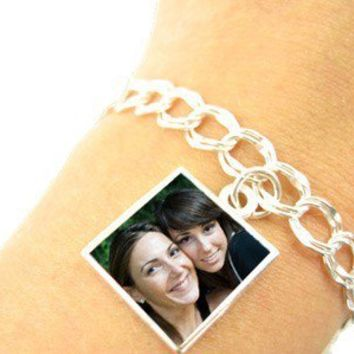 "Custom Photo Charm Bracelet ""Beth"" Style- Small Size Photo Charm - Sterling Silver, Waterproof"