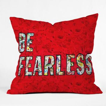 Be Fearless collage throw pillow