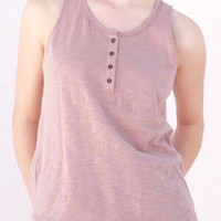 Cotton Slub Henley Tank in Dusty Pink