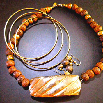 CADORO Wood Choker Necklace, 3 Bracelets, Earrings, Goldplating, Signed Vintage