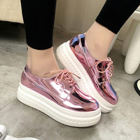 Fashion Patent Leather Shoes Woman Handmade Designer Ladies Loafers Flat Platform Shoes For Women Creepers Casual Flats