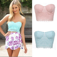 New Women Ladies Sexy Strapless Stretch Lace Padded Top Bandeau Boob Tube Bra Crop Tops 7_S SV018999 = 1914124868