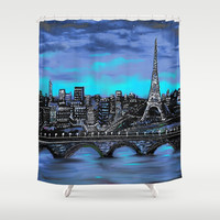 Eiffel Tower ~ Paris France Shower Curtain by RokinRonda
